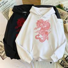 Saco Women's hoodie Harajuku vintage Chinese dragon